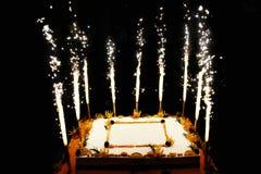 Bolo do fruto do aniversário com velas dos fogos-de-artifício fotos de stock royalty free