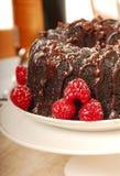 Bolo do fudge de chocolate com açúcar pulverizado Imagens de Stock