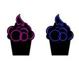 Bolo do gelado azul e cor-de-rosa ilustração stock