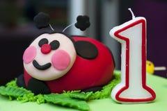 Bolo do Ladybug Imagens de Stock