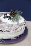 Bolo do Natal com a neve decorada Imagem de Stock Royalty Free