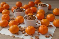 Bolo do Natal com os mandarino Fotos de Stock Royalty Free