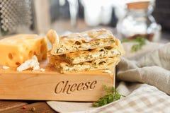 Bolo do quadrado do queijo Fotografia de Stock