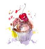 Bolo do queque com chocolate e cereja watercolor ilustração royalty free