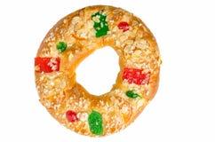 Bolo do rei ou Roscon de Reyes fotografia de stock