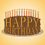 Bolo do texto do feliz aniversario Fotos de Stock
