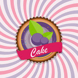 Bolo doce com Berry Menu Background Vetora Illustration Foto de Stock