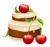 Bolo doce com cerejas maduras Imagens de Stock
