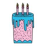 Bolo doce da cor com estilo ardente das velas ilustração royalty free