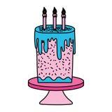 Bolo doce da cor com velas ardentes na tabela ilustração stock
