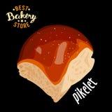 Bolo doce da manteiga para o vetor do jantar Produto cozido do pão ilustração royalty free
