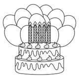 Bolo doce delicioso com hélio das velas e dos balões ilustração do vetor