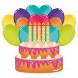 Bolo doce delicioso com h?lio das velas e dos bal?es ilustração royalty free