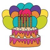 Bolo doce delicioso com h?lio das velas e dos bal?es ilustração stock
