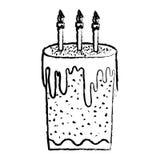 Bolo doce do Grunge com estilo ardente das velas ilustração do vetor