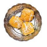 Bolo doce tailandês da palma de açúcar de três sobremesas Fotografia de Stock