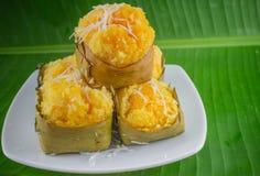 Bolo doce tailandês do sugarpalm da sobremesa com coco foto de stock