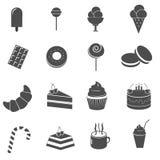 Bolo e ícones doces da sobremesa ajustados Foto de Stock Royalty Free