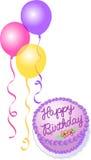 Bolo e balões de aniversário ilustração stock