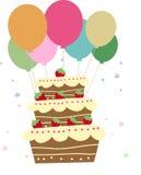 Bolo e balão Imagens de Stock Royalty Free
