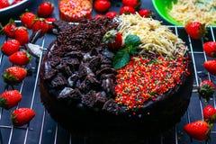 Bolo e café da brownie Imagem de Stock