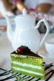Bolo e café de Greentea Fotografia de Stock