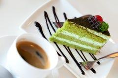 Bolo e café de Greentea Foto de Stock Royalty Free