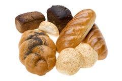 Bolo e pão no branco foto de stock royalty free