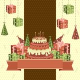 Bolo e presentes de aniversário Imagens de Stock Royalty Free