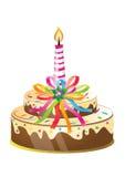 Bolo e vela de aniversário ilustração stock