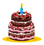 Bolo e vela de aniversário Foto de Stock