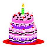 Bolo e vela de aniversário Foto de Stock Royalty Free