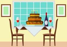 Bolo e vinho na tabela festiva Fotografia de Stock