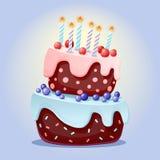Bolo festivo dos desenhos animados bonitos com velas Biscoito do chocolate com cerejas e mirtilos para partidos, aniversários El ilustração royalty free