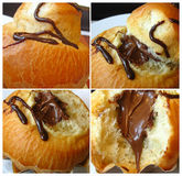 Bolo frito com chocolate. Foto de Stock
