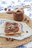 Bolo frito com propagação caseiro do chocolate Fotos de Stock