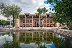 Bolo Haouz Mosque in Bukhara, Uzbekistan. Bolo Haouz Mosque - historical mosque in Bukhara, Uzbekistan. Built in 1712, UNESCO World Heritage Site stock photos