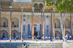 Bolo-Hauz Mosque in Bukhara, Uzbekistan Royalty Free Stock Photography