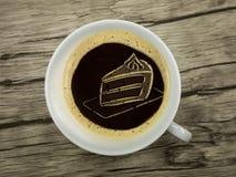 Bolo no copo do coffe Imagem de Stock