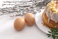 Bolo, ovos e catkins de Easter Imagens de Stock