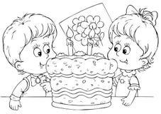 Bolo para um aniversário ilustração do vetor