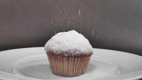 Bolo perfumado polvilhado com o açúcar pulverizado Movimento lento video estoque