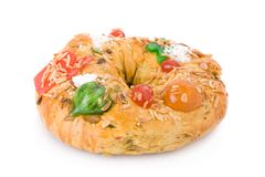 Bolo Rei, the Portuguese Christmas cake. Traditional Portuguese Christmas cake, called Bolo Rei, made with candied fruits Royalty Free Stock Photos