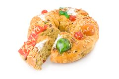 Bolo Rei, the Portuguese Christmas cake Royalty Free Stock Photography