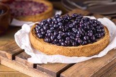 Bolo saboroso da torta da galdéria com os mirtilos frescos servidos em Tray Wooden Background Homemade Pie de madeira fotos de stock royalty free