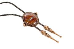 Bolo Tie. Made by Southwestern Indians in Arizona. photographed on a white background Royalty Free Stock Photo
