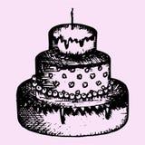 bolo Três-estratificado com vela Fotografia de Stock Royalty Free