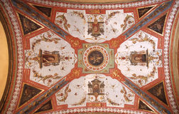 Bologna. Painted ceilings of famous Bologna arcades in Italy. Colorful fresco Royalty Free Stock Photos