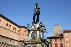 Bologna. Fountain of Neptune (Fontana di Nettuno) of Bologna, Italy. Bronze Mannerist monument Royalty Free Stock Photos