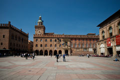 Bologna. Piazza Maggiore in Bologna and Town Hall royalty free stock photos